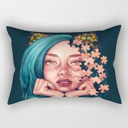 Puzzle Cat Girl Rectangular Pillow