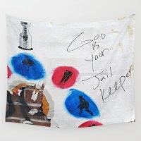 hockey Wall Tapestries featuring Hockey Prayer by Ethna Gillespie