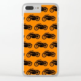 Antique Motorcycle // Orange Clear iPhone Case