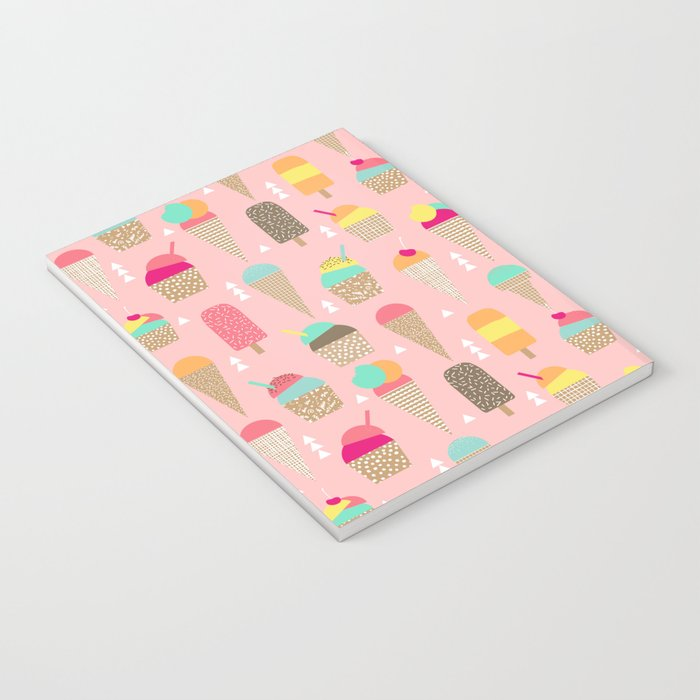 Ice Cream summer fresh food vacation heatwave city life pattern print geometric triangle design Notebook