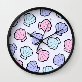 Mermaid Shells Pastel Pattern Wall Clock