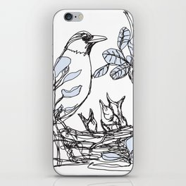 Robin's Nest (a one-line drawing) iPhone Skin