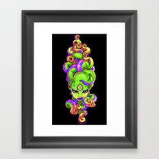 Tentacle Demoness (GREEN version) Framed Art Print