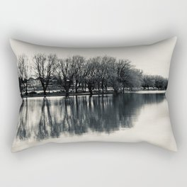Guitar Shaped Reflection, Black and White Rectangular Pillow