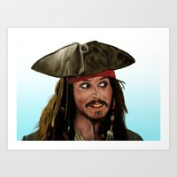 jack sparrow Art Prints featuring Jack Sparrow by San Fernandez