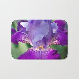 Glowing Japanese Iris Floral / Botanical Nature Photo Close-up Bath Mat