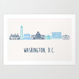 Washington DC Skyline Sketch Blue Art Print