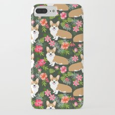 Welsh Corgi hawaiian print pattern florals tropical summer dog breed pet portrait iPhone 7 Plus Slim Case