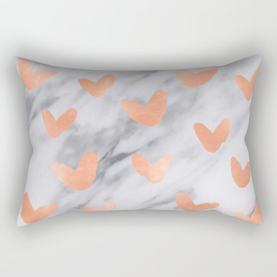 Hearts Rose Gold Marble Rectangular Pillow