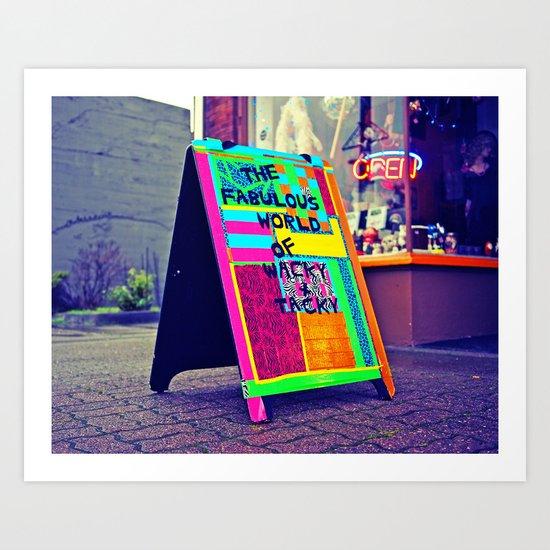 Wacky sidewalk sign Art Print