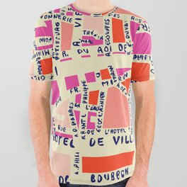 paris map pink All Over Graphic Tee
