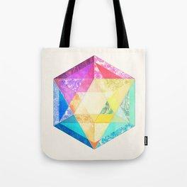 Retro Rainbow Patchwork Hexagon Tote Bag