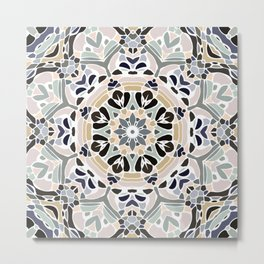 Floral Multicolored Mandala with Light Linen Texture Metal Print
