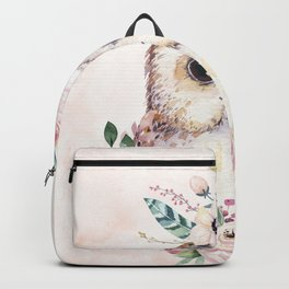 Forest Owl Floral Pink by Nature Magick Backpack