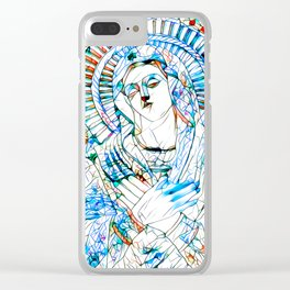 Glass stain mosaic 9 - Virgin Mary, by Brian Vegas Clear iPhone Case