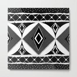 Black and White Diamonds and Circles Egg 2 Metal Print