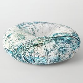 Subtle Blue Textured Acrylic Painting Floor Pillow