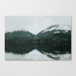 Foggy Reflection at the Alpine Lake Canvas Print