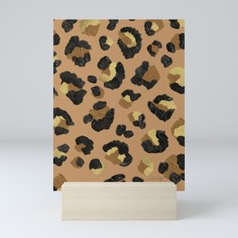 Leopard Print – Neutral & Gold Palette Mini Art Print