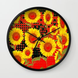 MODERN OPTICAL RED-BLACK ART SUNFLOWER FIELD Wall Clock