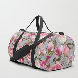 Gray blush pink coral yellow hand painted floral Duffle Bag