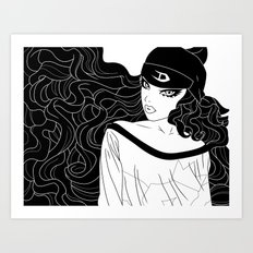 Mischy (Black and White) Art Print