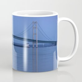 The Mackinac Bridge & the Great Lakes Freighter Coffee Mug