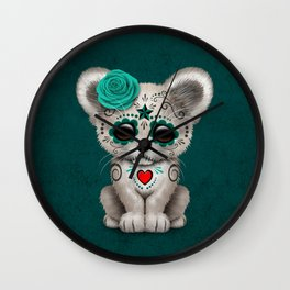 Teal Blue Day of the Dead Sugar Skull White Lion Cub Wall Clock