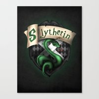 slytherin Canvas Prints featuring Slytherin Crest by Sharayah Mitchell