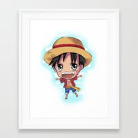 luffy Framed Art Prints featuring Luffy by Midnight Tardis