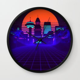 Synthwave Space #5: Space city Wall Clock