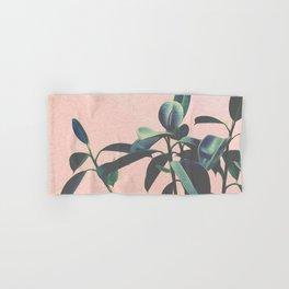Pink Tropical Leaves Hand & Bath Towel