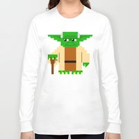pixel Long Sleeve T-shirts featuring Pixel Yoda by Silvio Ledbetter