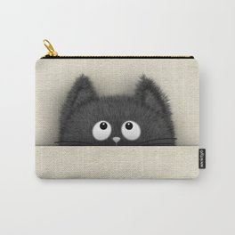 Cute Fluffy Black cat peaking out Carry-All Pouch