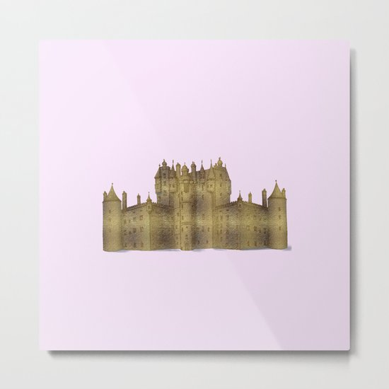 Golden castle on a pink background Metal Print
