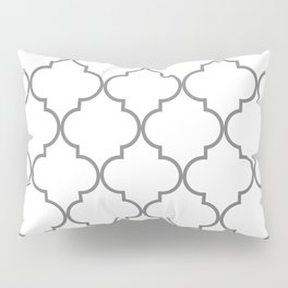 Quatrefoil - Gray and White Pillow Sham