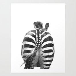 Black and White Zebra Tail Art Print