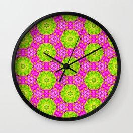 Kaleidoscope Of Pink Daises Wall Clock