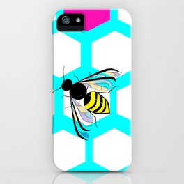 A Many Colored Honeycomb and Bee iPhone Case