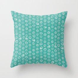 Shibori kanoko white dots over turquoise Throw Pillow
