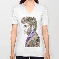 david tennant V-neck T-shirts featuring David Tennant Dr. Who Text portrait by Mike Clements