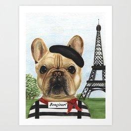 Chapo the French Mime Bulldog Bonejour! Art Print
