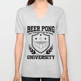 Beer Pong University Drinking Game Mug Gift Unisex V-Neck