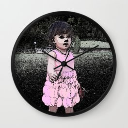 Girl in a Pink dress Wall Clock