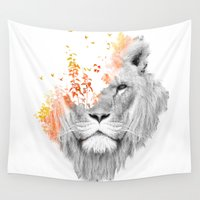 lion Wall Tapestries featuring If I roar (The King Lion) by Picomodi