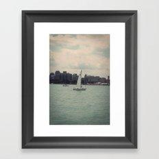 Sailboat Lake Michigan Water Color Photo Framed Art Print
