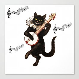 Cute Vintage Dancing Cat Canvas Print