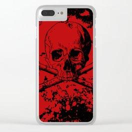 Skull and Crossbones Splatter Pattern Clear iPhone Case