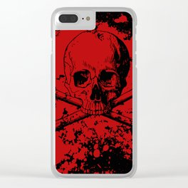 Skull and Crossbones Splatter Pattern Clear iPhone Case