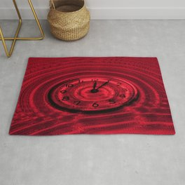 Hands of Time Red Rippling Water Art Motif Rug